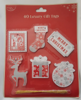Red & Silver Luxury Christmas Gift Tags (40)